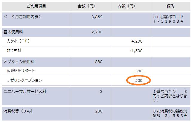 au明細-テザリングオプション